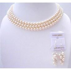 Ivory Pearls 3 Stranded Necklace Swavorski Pearls Wedding Jewelry Set