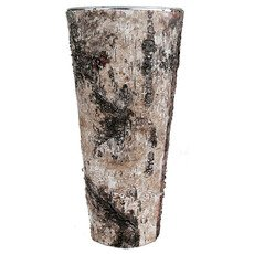"""Zinc Cylinder Vase w/ Birch Wood Wrap H-14"""" Open-7"""" (Pack of 12 pcs)"""