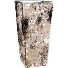 """Zinc Square Vase w/ Birch Wood Wrap H-10"""" Open-5""""x5""""(Pack of 6 pcs)"""