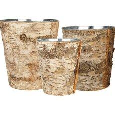 """Zinc Cylinder Vase w/ Birch Wood Wrap Set of 3. H-7""""/8""""/9"""" (Pack of 6 sets)"""
