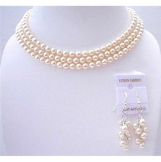 Ivory Pearls 3 Stranded Necklace Swavorski Pearls Wedding Jewelry Set