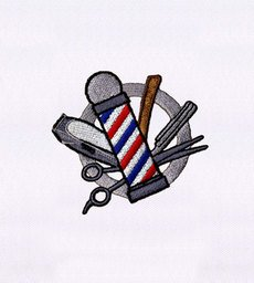 BARBER'S POLE AND TOOLS EMBROIDERY DESIGN