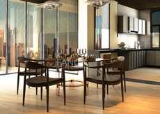 CASCADE GLASS DINING TABLE