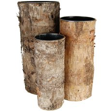 "Zinc Cylinder Vase w/ Birch Wood Wrap Set of 3. H-2""/2.5""/3""(Pack of 6 sets)"