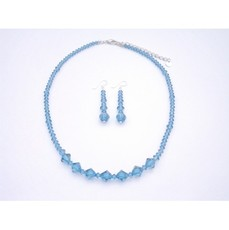 Indicolite Necklace Set Genuine Swarovski Crystals Jewelry Set