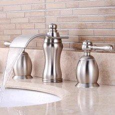 Nickel Brushed Finish Three-pieces Waterfall Bathroom Sink Taps TN200S