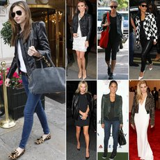 Trendy And Fashionable Female Celebrities Leather Outerwear And Outift