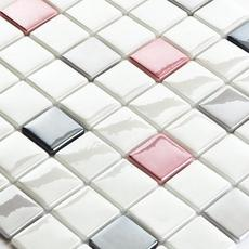 """Glass Mosaic Straight Layout 1 1/2""""x 1 1/2"""" Red,Black and Grey"""