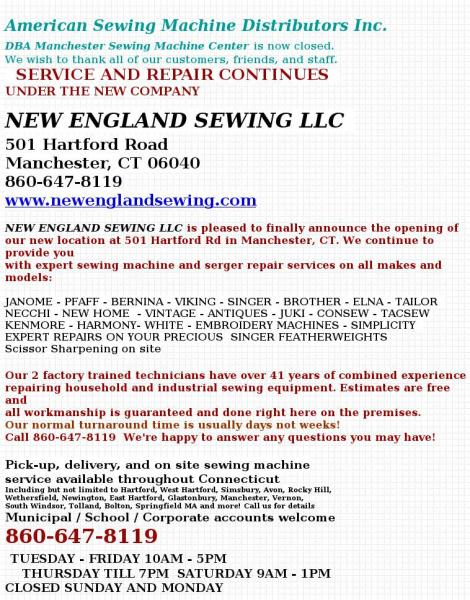 American Sewing Machine Distributors Inc Manchester Connecticut Stunning Sewing Machine Distributors