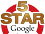 We are rated 5-Stars on Google
