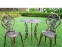 3-Piece Outdoor Bistro Set with Rose Design in Antique Bronze
